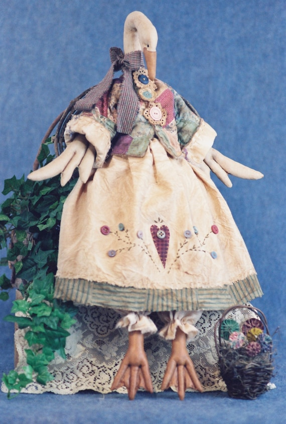 Gandering in the Garden - Mailed Cloth Doll Pattern - 26in Country Goose Bird Animal pattern