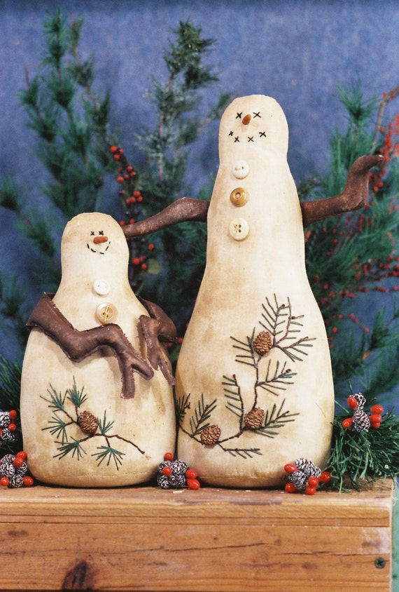 Pines and Needles - Cloth Doll E-Pattern  Unique Primitive Country Snowmen