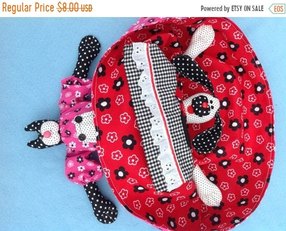 ON SALE Cloth Doll E-Pattern Old style Topsy Turvy Dog & Cat Doll