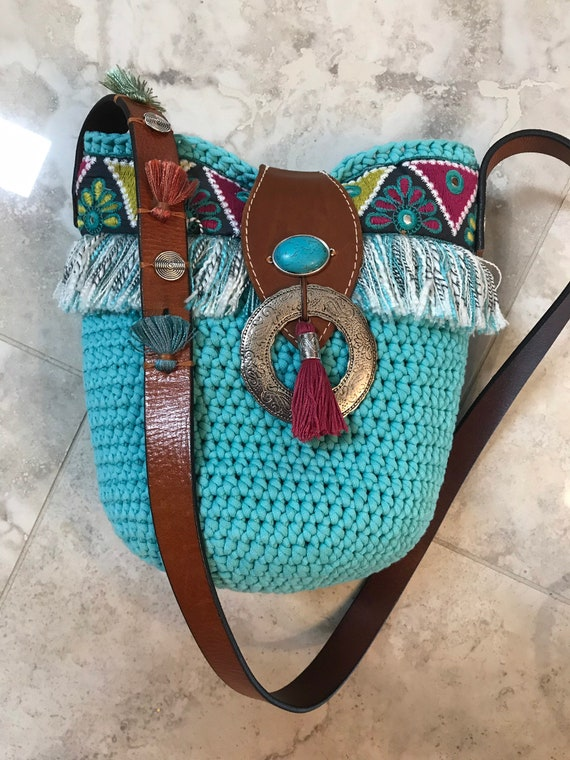 Handmade OOAK Bohemian Ibiza Tribal Crocheted Turquoise Bucket Shoulder Bag