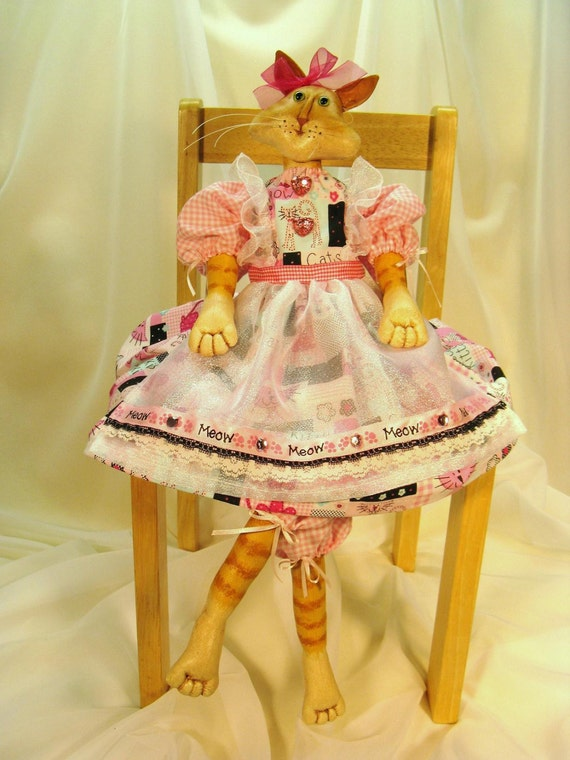 Lilly Cat - Cloth Doll E-Pattern - Beautiful Art Doll Cat E-pattern