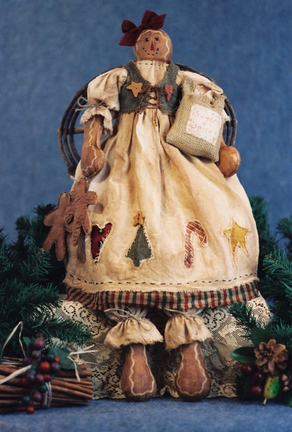 Just An Old Cookie - Cloth Doll E-Pattern - Holiday Primitive Gingerbread Doll Epattern