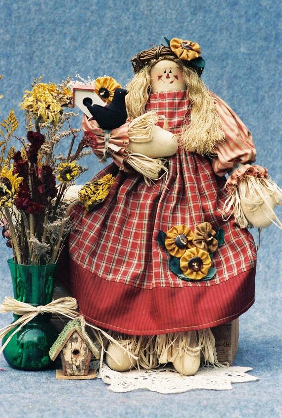 Sunflower - Collectible Early Prototype Handmade OOAK Rag Doll Girl Scarecrow