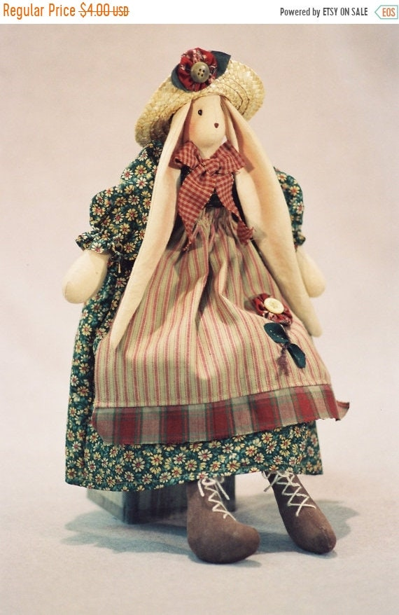 ON SALE Brooke - Cloth Doll E-Pattern a very cute 16in Country Girl Bunny Rabbit