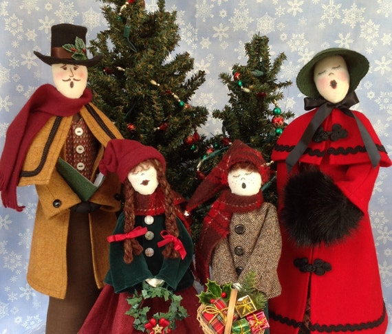 Caroler collection - Mailed Cloth Doll Patterns Special Priced Christmas Caroler Family Free Standing Stump Doll Patterns