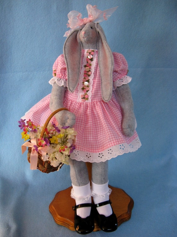 April - Cloth Doll E-Pattern 19inch Springtime Girl Easter Bunny Rabbit