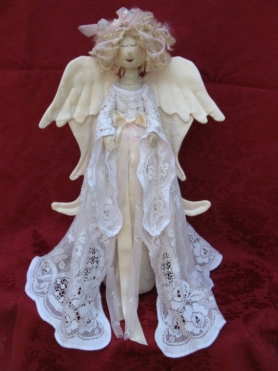 Heavenly Angel - Mailed Cloth Doll Pattern- 18in Beautiful Holiday Heavenly Angel Free Standing Stump Doll Pattern