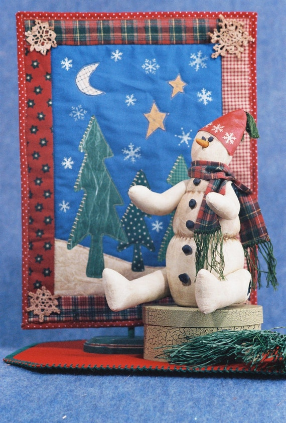 Icie - Cloth Doll E-Pattern Primitive Christmas Holiday Snowman & Quilt