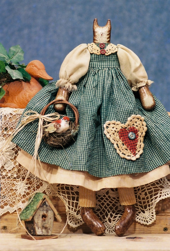 Bethany - Mailed Cloth Doll Pattern 17in FolkArt Country Girl Cat Kitten