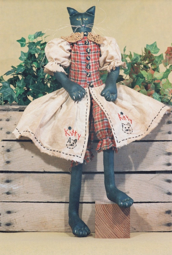 Kitty - Cloth Doll E-Pattern - 23in Primitive-Folkart Halloween Black Girl Cat