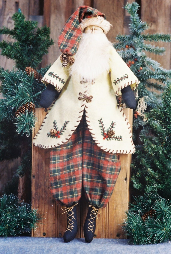Woodland Santa - Mailed Cloth Doll Pattern - 24in Primitive Santa