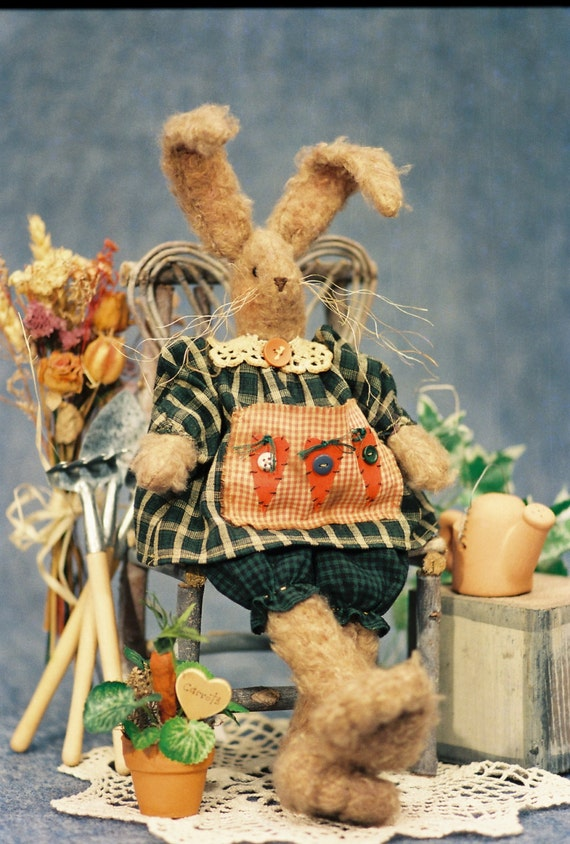 Rebecca - Mailed Cloth Doll Pattern 14 inch Furry Country Girl Bunny