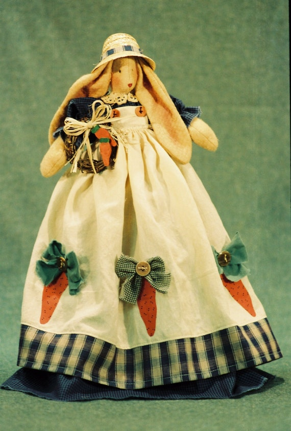 Corynn - Cloth Doll E-Pattern- Country Girl Bunny Shelf Sitting doll Epattern