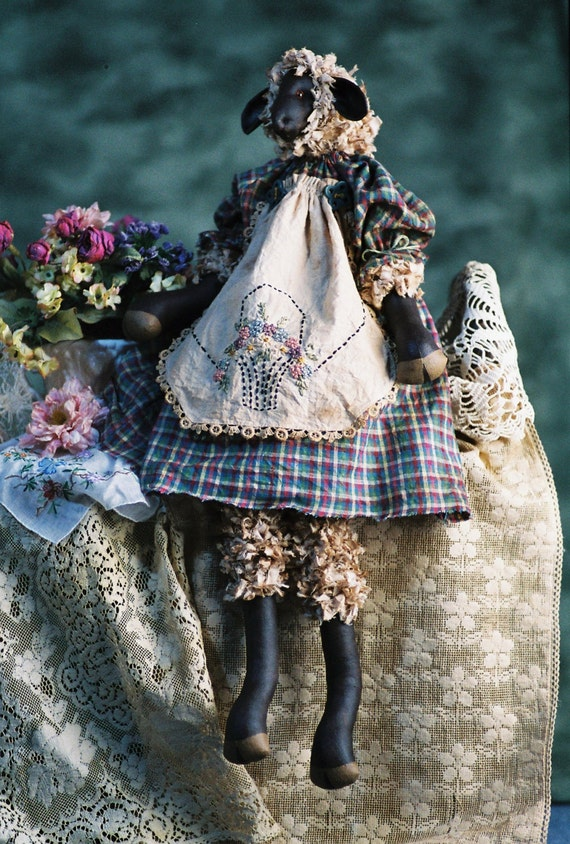 Penelope - Cloth Doll E-Pattern - 22 inch Primitive Girl Sheep Lamb