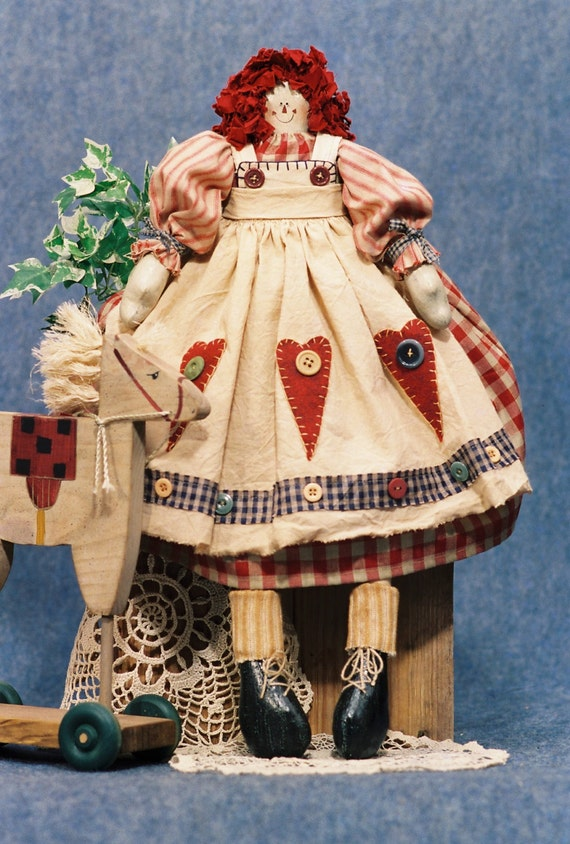 Annie - Mailed Cloth Doll Pattern - 23in Raggedy Ann Doll