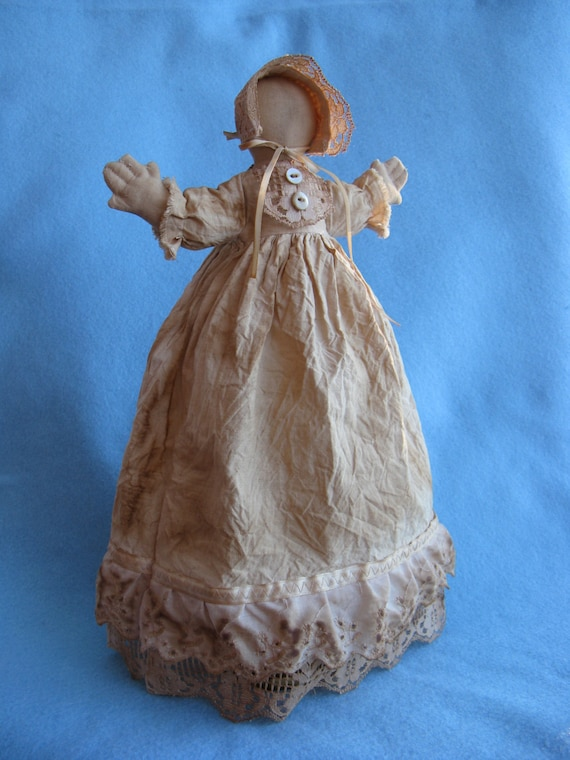 Hannah Prairie Doll - Mailed Cloth Doll Pattern 14 in Primitive Rustic Prairie Doll