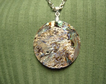 Round Abalone Shell Pendant Necklace