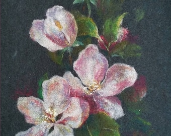 Felted painting of wool. Felted wall hanging picture. BLOSSOM. OOAK.