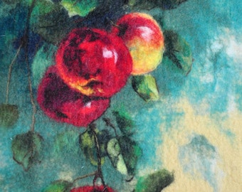 Felted wall hanging picture. APPLES. OOAK.