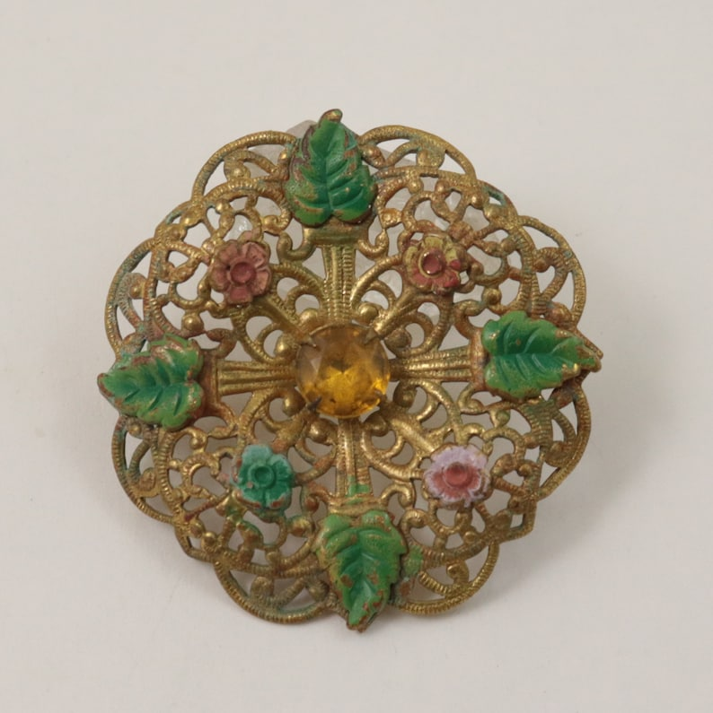 92bc2665a Vintage Art Deco Czech Brooch Gold Tone Pierced Filigree   Etsy