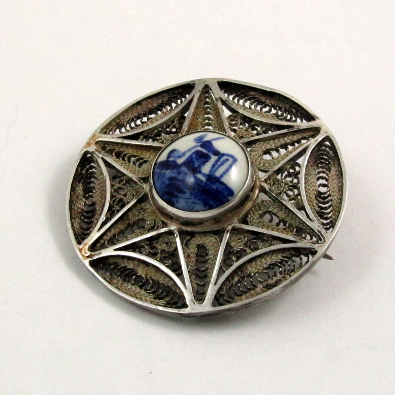 Vintage Round Silver Lace Filigree Signed Delft Brooch Shawl Pin Blue and White Porcelain Cabochon