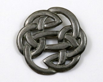 St Justin Pewter Celtic Knot Brooch, Vintage Large Pin, 2 Inches