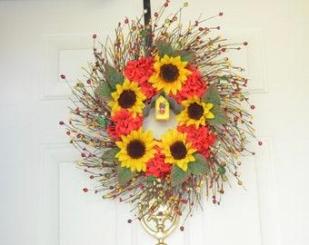 Birdhouse Sunflower wreath Summer wreath Yellow sunflowers & Red Geraniums Birdhouse wreath Door decor Housewarming gift Silk Flower wreath