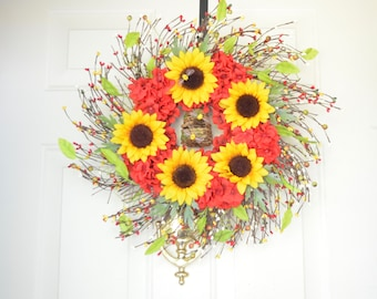 Sunflower Beehive wreath Wispy twig wreath Summer wreath Yellow sunflowers Red geraniums FrontDoor decor Housewarming gift Bee lover wreath