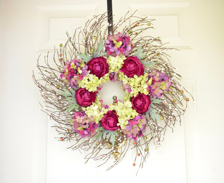 Purple Wreath Ready To Ship Spring Summer Fall Season Dark Etsy