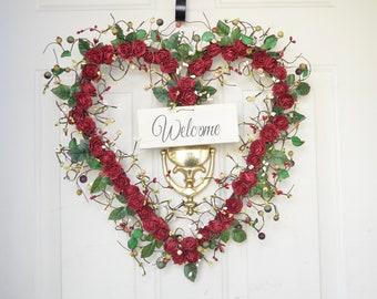 Welcome Heart wreath All Seasons front door decor Housewarming gift