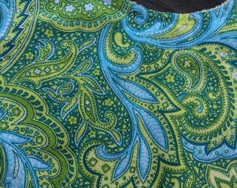 Blue and Green Paisley Baby Bib