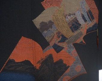 Vintage haori  S2045 black colored   silk