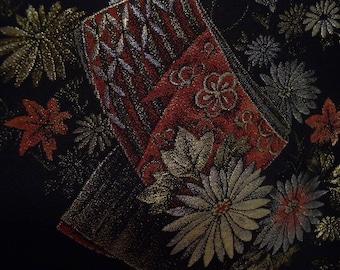 Vintage haori  S2039 black colored silk