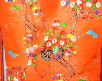Vintage kimono S553, for girls, orange