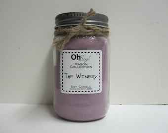 Soy Mason Jar Candle - The Winery 16oz OhSoy! Mason Cande - Wine Scented Candle