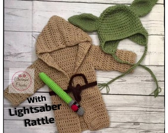 5cd1ca99523d Baby Yoda Outfit with Light saber Rattle , Yoda Baby Costume, Baby Yoda  Costume gift, Crochet Baby Yoda costume, , Star Wars Inspired rob.
