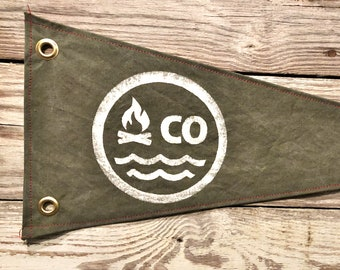 Colorado Camp Bonfire Canvas Pennant