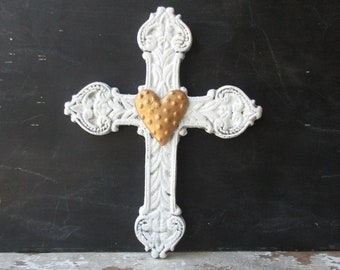 Rustic cast iron cross shabby white with golden heart wall hanging 8 inch metal cross Southwest Christian Farmhouse Rustic decor LW2