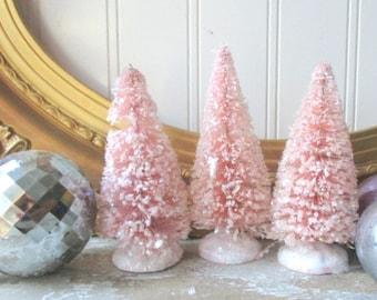 3 rose quartz pink 4 inch bottle brush trees vintage style mica glittered bottlebrush putz village Christmas Holiday decor Cottage Chic