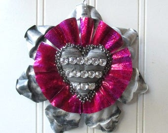 Folk art Christmas ornament tart tin rhinestone heart vintage metal magenta mixed media Valentine love token N4