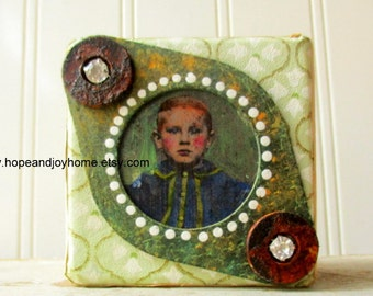 Altered art block Mixed media collage assemblage art upcycled vintage elements Green Boy