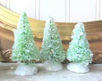 3 small green bottle brush trees mica glittered Christmas tree Cottage Chic Farmhouse decor vintage style putz village trees