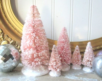 Bottle brush tree trees 5 Pink Rose Quartz Vintage Style Frosted Glittered Mica Christmas Valentine Romantic Chic decor