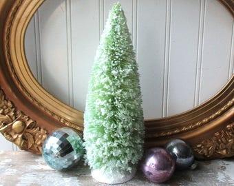 Green bottle brush Christmas tree 9 inch tree  large glittered mica bristle sisal tree Holiday decor