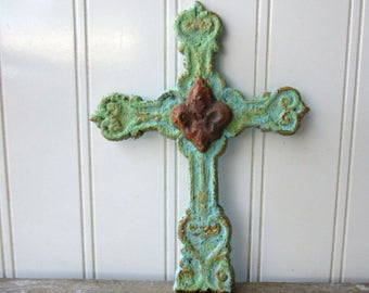 Small cast iron cross aqua turquoise faux verdigris rusty fleur de lis vintage style wall hanging metal cross Spiritual Christian decor  SA7