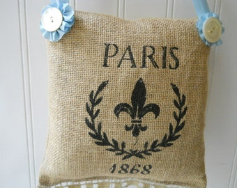 Burlap small hanging pillow Paris Vintage lace trim pearl buttons pale blue French Cottage Chic