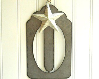 "Large metal zero stencil hanging with vintage French dictionary papered star Jumbo 5 1/2"" tall font Cottage Chic"