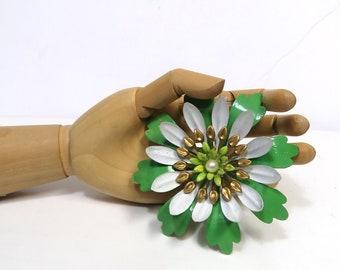 "Vintage Flower Power Brooch/ Groovy Enamel 3"" Pin/ Retro Jewelry in Spring Green"