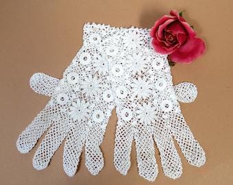 Vintage Crochet Fishnet Lace Mesh Gloves Cuffed PATTERN