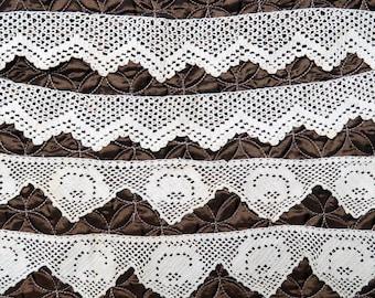 Antique Crocheted Lace Edging 2 Pieces/ Filet Crochet Pillowcase or Blouse Trim